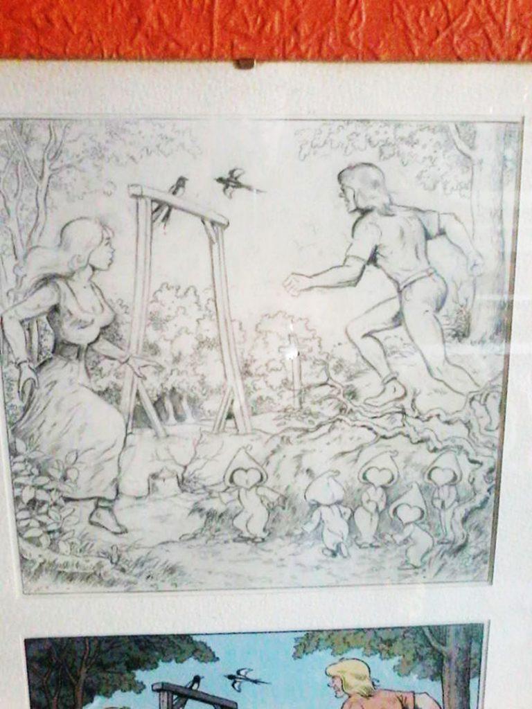 De Ekster Op De Galg als potloodtekening van Willy Vandersteen