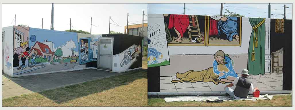 Muurschildering Hoboken Het Dreigende Dinges Suske en Wiske