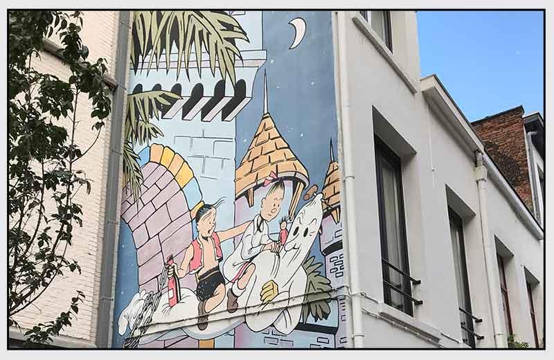 Muurschildering Op Het Eiland Amoras Suske en Wiske in Antwerpen