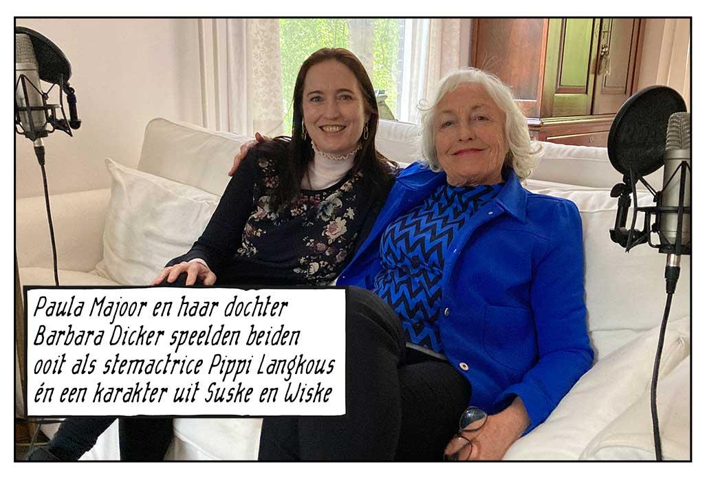 Paula Majoor en dochter Barbara Dicker Pippi Langkous poppenkast hoorspel