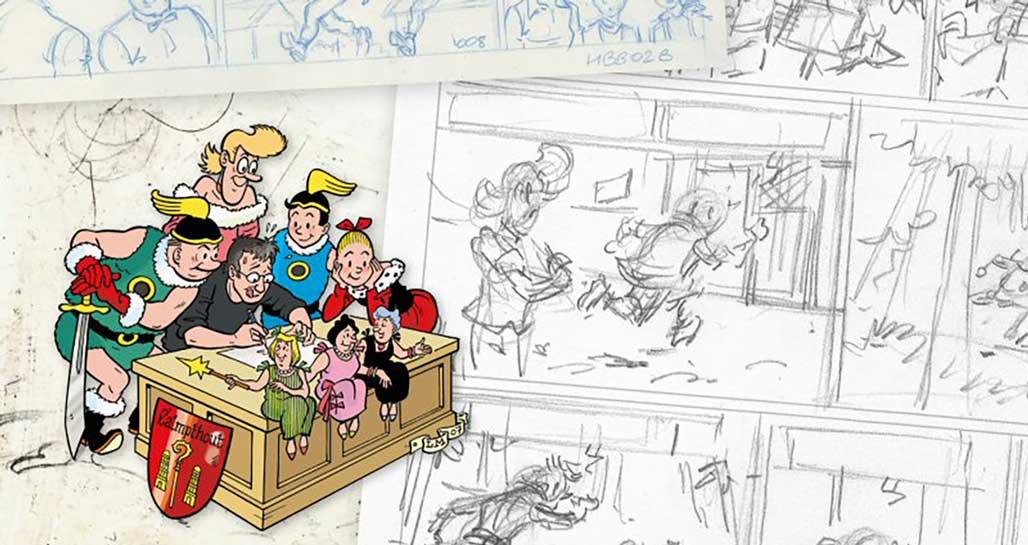 Luc Morjaeu tekenaar Suske en Wiske tekentafel